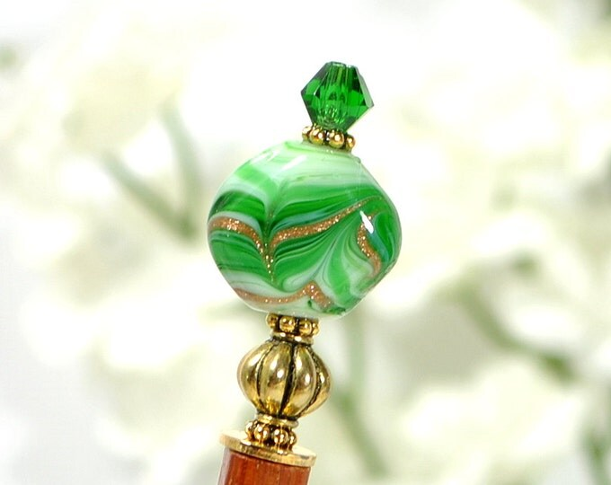"Japan Hair Stick Green Hairstick Hair Beads Japanese Hair Pin Green Bun Pin Hair Chopstick Handmade - ""Forest Glow"""
