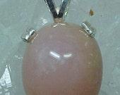 Pink Opal Gemstone Sterling Silver Pendant Renew Spirituality Awaken Inner Knowing Purify Mind Heart Release e001