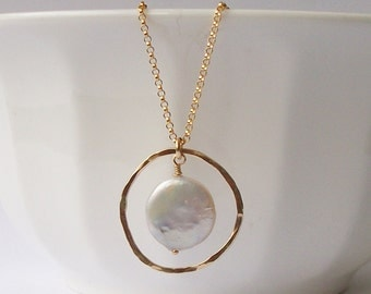 Coin Pearl Circle Necklace, Pearl Jewelry by Perini