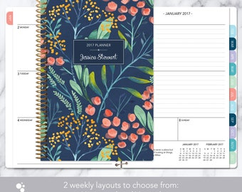 2017 planner 12 month calendar | add monthly tabs weekly student planner | personalized planner agenda | navy watercolor floral