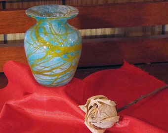 Light Teal and Gold Miniature Hand Blown Vase