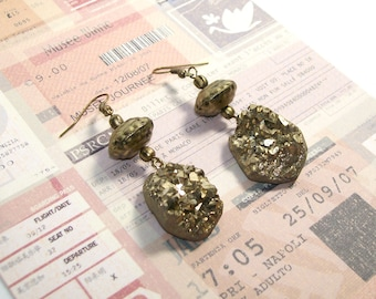 ROCK THE CASBAH - Gold Druzy Dangle Earrings - Glam Boho Jewelry