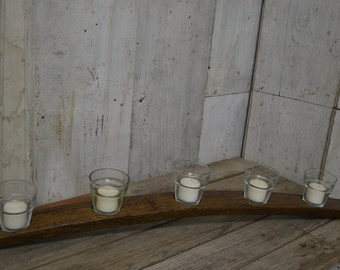 Votive Candle Holder, Wine Barrel Stave Decor Holds 5 Candles, Aged Oak, Dark Walnut Stain, Displays Five Illuminations