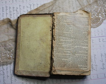 Antique BIBLE- Old with Embossed Leather Covers- Religious Book- Vintage Pocket Bible- Holy Bible