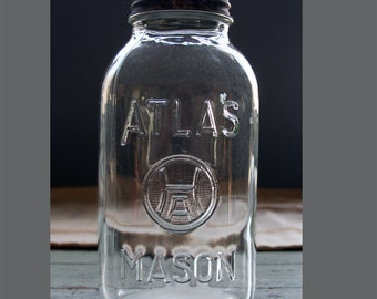 Atlas MASON JAR- Large Canning JAR Square Hazel Atlas H over A Canning Jar Farmhouse Decor- Zinc & Porcelain Lid- M25