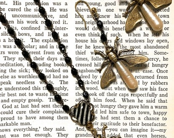 Steampunk Pendant Necklace, Firefly Pendant, Rosary Necklace,  Insect Jewelry, Buy as Necklace Earring set and Save