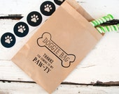 Kraft Candy Favor Bags  -  Doggie Bag - Dog Theme Party - Pack of 12 Paper Bags