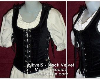 Odd Bodkin Maiden Bodice in Black Velveteen - Made to Order - blkvel5
