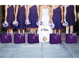 Bridesmaid Gifts,  SET OF 6 Bridesmaid Tote Bag, Personalized Wedding Bag, Bridal Party Gift, Monogrammed Totes