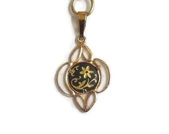 Vintage Damascene Pendant Necklace with Flower