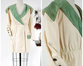 Antique Edwardian Jacket - Gorgeous 1916 Middy Style Summer Jacket with Green Silk Collar and Pockets