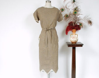 Vintage 1930s Dress - Charming Peach Pink Linen Early 30s Day Dress with Sheer Fagot Stitched Stripes