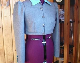 Grey wool !!   Regency style Spencer jacket---Size 10