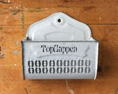 German Enamelware, Enamel Topflappen Wall Pocket, Vintage Enamelware, European Enamelware, Farmhouse Kitchen Storage, Rustic Farmhouse Decor