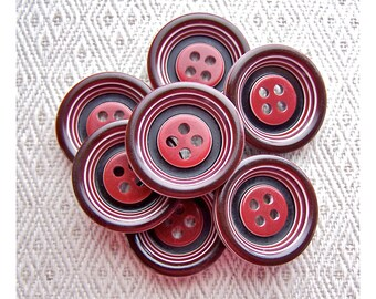 Red Ring-Around Buttons, 22mm 7/8 inch - Striped Two Tone Retro Mod Bulls Eye Buttons - 7 VTG NOS Glossy Red Plastic Sewing Buttons PL236