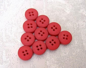 Berry Red Buttons, 13mm 1/2 inch - Small Chunky Matte Red Sewing Buttons - 10 VTG NOS Dark Red Plastic Sew Through Buttons PL493 2LS