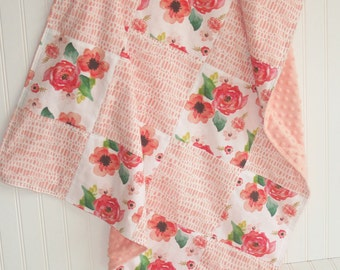 floral baby blanket- coral baby blanket-patchwork minky baby blanket-watercolor baby blanket-  baby blanket- baby girl blanket- baby bedding