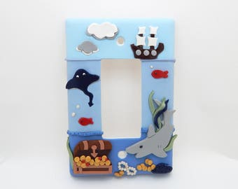 Nautical Themed Under the Sea Light Switch or Outlet Cover - Shark - Children's Nursery