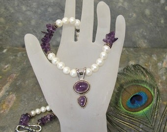 Pearl and Amethyst Statement Necklace ~ White Cultured Freshwater Pearls with Dark Purple Amethyst ~ Sterling Silver 20 inches