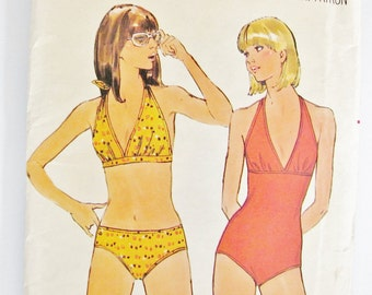 XS size Swim Suit Sewing Pattern Butterick 4851 / Bikini or Maillot One Piece Petite Womans Vintage 1970s  / Retro 70s Style / Bust 31.5