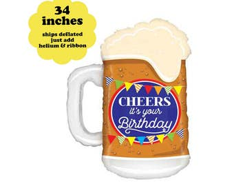 "34"" Beer Balloon - Birthday Party Decorations Happy Birthday Beer Balloon Adult Party Alcohol Balloon Cheers Party Decor Beer Party Balloon"