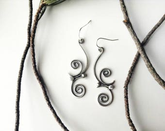 spiral earrings, sterling silver, double spiral, white cz earrings, delicate earrings, feminine tribal, dangle earrings