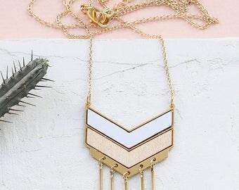 Falcon Necklace, Long Gold Necklace, Long FORMICA® Necklace, Boho Necklace, Long Bohemian Necklace, Fringe Necklace, Long Chevron Necklace