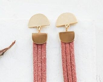 Long Cliff Earrings, Fringe Earrings, Boho Earrings, Boho Dangle Earrings, Boho Jewelry, Suede Tassel Earrings