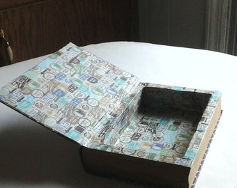 booksafe,  lined with vintage road sign decorative paper. closed , just a book, open surprise, hidey spot