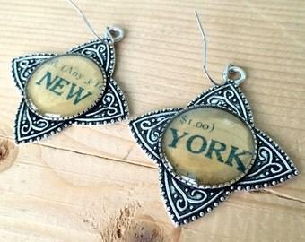 New York Vintage Sheet Music Earrings