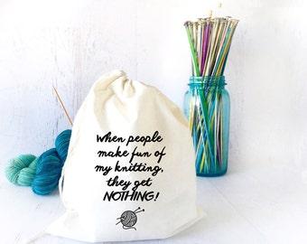 Drawstring Project Bag for Knitting - Yarn Holder- Yarn Storage- Funny Project Bag- Yarn Organizer- Knitting Humor - Sock Knitting