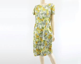 60s Floral Dress Yellow Floral Dress Vintage 1960s Dress 60s Summer Dress 60s Shift Dress Short Sleeve Dress 60s Dress 60s Spring Dress m