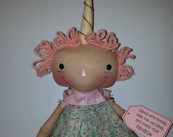 Primititve raggedy doll pattern Unicorn Wishes, Cloth doll Unicorn, Sewing Doll Pattern, HFTH219