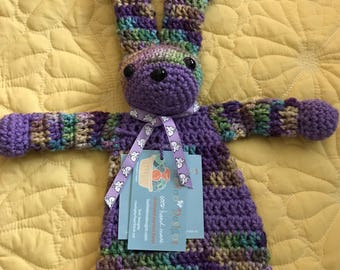 Purple/Lavender and Variegated Little Bunny Rag Doll Toy/Lovey