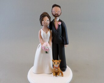 Unique Cake Toppers  - Bride & Groom with a Cat Custom Made Wedding Cake Topper