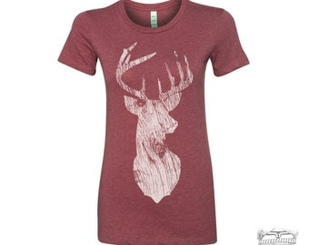 Womens DEER  t-shirt -hand screen printed tee s m l xl xxl (+ Colors Available)
