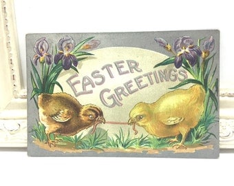 Vintage Easter Postcard, Vintage Postcard, Easter Card, Easter Ephemera, Easter Greetings, Easter Chicks Fighting Over a Worm, Silver Foil