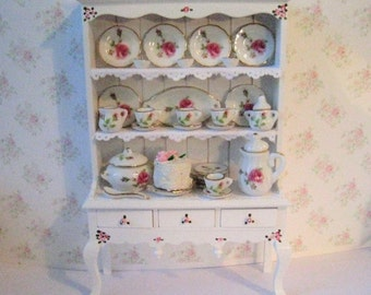 Dollhouse Dresser,dining room hutch,  Filled dresser,, Rose china,  White dresser, hutch, furniture,  twelfth scale, dollshouse miniature