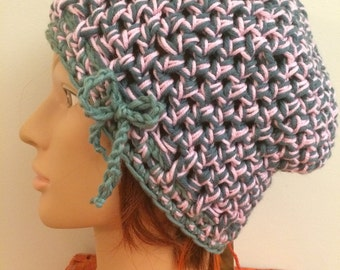 Pink and Green Crocheted Slouch Hat 72/16