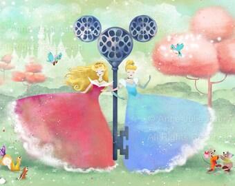 Aurora and Cinderella  - Deluxe Edition Print