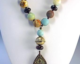 Hand Knotted Necklace   Boho Style Necklace   Mixed Stone Necklace   Amazonite Necklace   Buddha Charm Necklace  