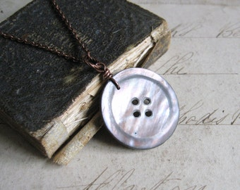 Button Beauty - Antique Shell Button with Copper Chain Handmade Necklace with Gift Box