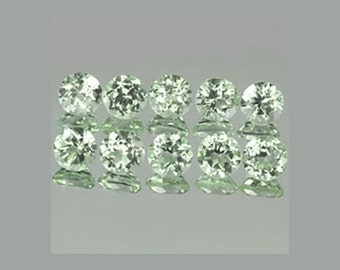 Green Amethyst Prasiolite one Gemstone - round circle facet faceted 6 mm - Brazil natural stone  6mm - small cut vvs - ring size quality 4P4