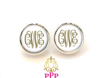 Monogram Earring, Monogram Stud Earrings, Monogram Jewelry, Personalized Jewelry,  (481)