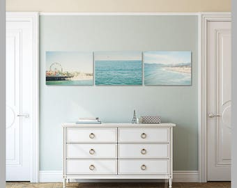 santa monica beach photo collection, set of 3 beach prints, santa monica pier photo, pacific ocean photo, pastel blue decor, beach wall art