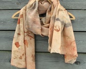 Eco printed wool silk wrap scarf hand dyed