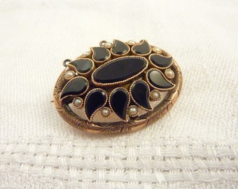 Antique Victorian 14K Jet Seed Pearl Brooch