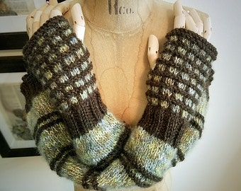Hand Knit Fingerless Glove Arm Warmers Sleeves by Wildling Art