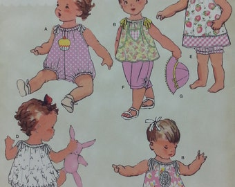 Simplicity 0266 Reproduction Vintage Baby Pattern Vintage Baby Romper,Dress,Top,Pants,Panties, and Hat in Three Sizes