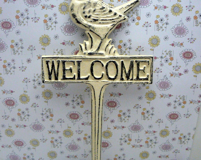 Bird Welcome Cast Iron Yard Stake Shabby Chic Off White Garden Patio Home Decor